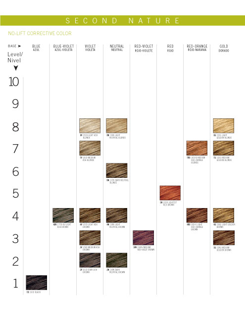 Second Nature Color Chart
