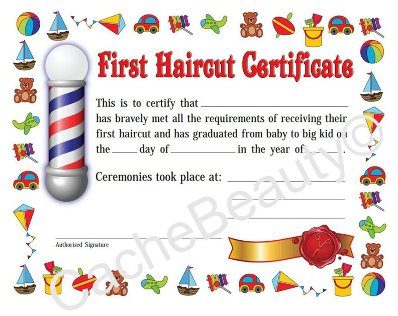 CacheBeauty.com: Kids First Haircut Certificate 078274020123 12 24 ...