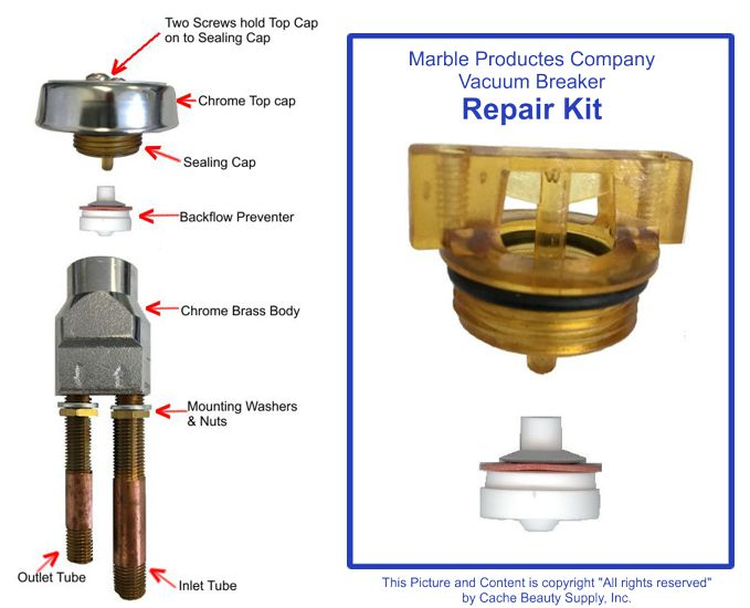 Repair Kit For Shampoo Bowl Vacuum Breaker Marble