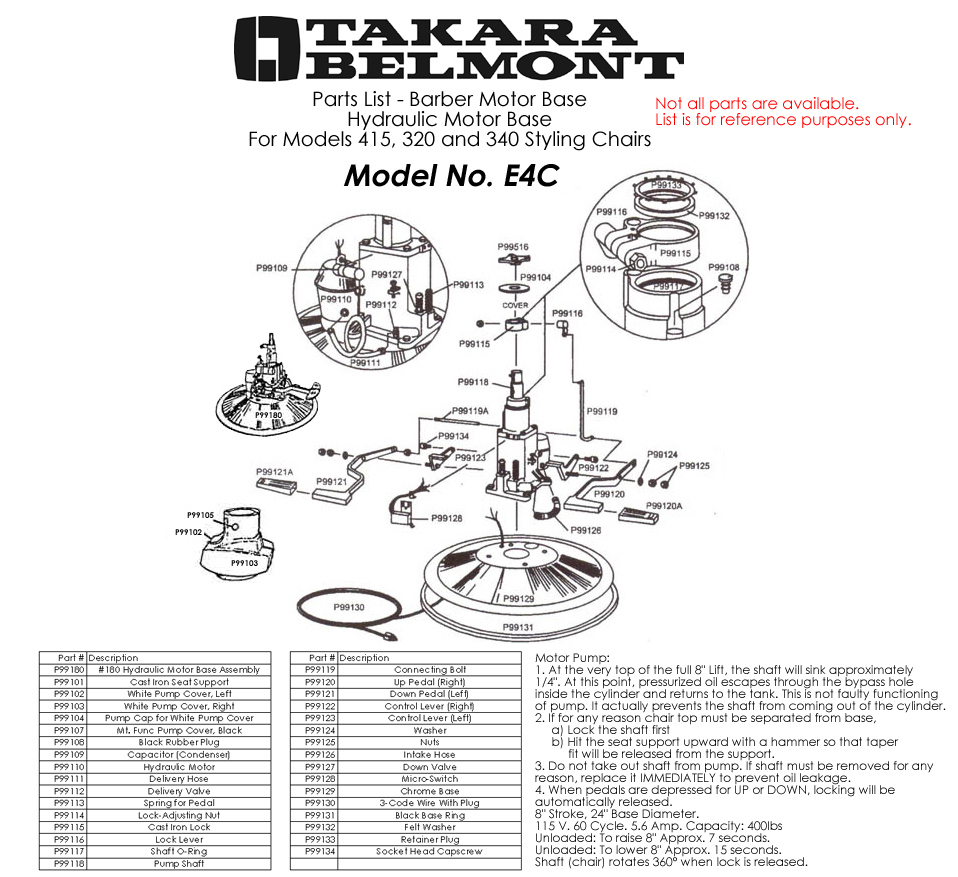 - Takara Belmont Chair Parts